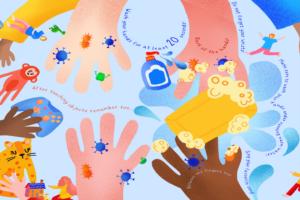Gemaltes Bild mit Händen und Hygienemaßnahmen